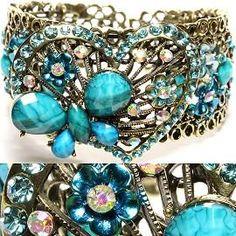 Gorgeous Aqua Colored Antique Heart & Butterfly Bracelet F/S... Buy this item here..  http://yardsellr.com/for_sale#!/gorgeous-aqua-colored-antique-heart--butterfly-bracelet-fs-4976570