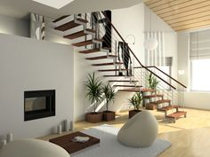 Open riser staircase in modern home