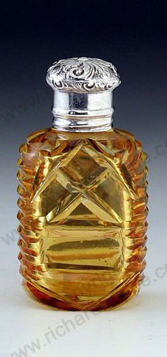 ANTIQUE & VINTAGE SCENT PERFUME BOTTLES. English amber cut glass, silver top, mid to later 19th century. To visit my website click here: http://www.richardhoppe.co.uk or for help or information email us here: info@richardhoppe.co.uk