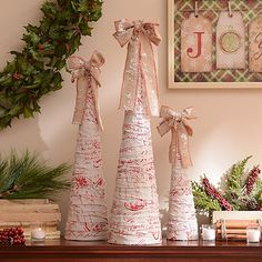 Red Script Linen Cone Trees, Set of 3; $59.99