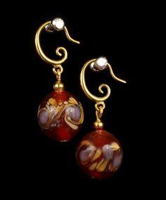 Lampwork Earrings, Glass Earrings, Red Pink Pattern Earrings, Round Earrings, Dangle Earrings, Lampwork Jewelry, Gift for Her