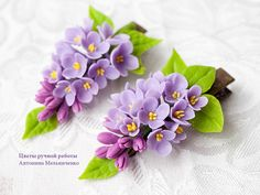Hair clip Lilac Syringa - Polymer Clay Flowers - Hobbies paining body for kids and adult Polymer Clay Kunst, Polymer Clay Figures, Polymer Clay Crafts, Felt Crafts, Fondant Figures, Diy Clay, Felt Flowers, Diy Flowers, Fabric Flowers