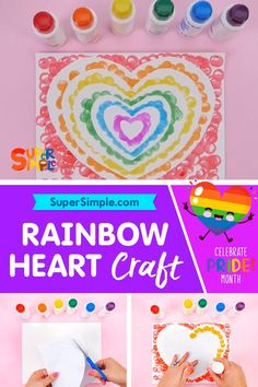 Use these fun dotter markers or some finger paint and your fingerprint to make an adorable rainbow heart. Simple Crafts, Easy Crafts For Kids, Art For Kids, Project Ideas, Diy Projects, Fun Activities To Do, Rainbow Crafts, Heart Crafts, Rainbow Heart