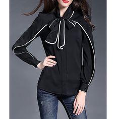Original 2017 Brand Blusas Plus Size Elegant Casual Black Crew Neck Long Sleeve Plain Color-block Blouse Women Wholesale