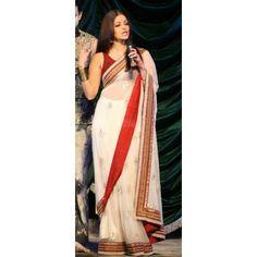 Bollywood Designer Aishwarya Red & White 60 Gram Georgette Saree HEL1212