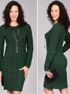 Free Knitting Patterns - Dark Green Dress with Cables Knitting Stitches, Knitting Patterns Free, Free Knitting, Knit Skirt, Dress Skirt, The Dress, High Neck Dress, Quick Knits, Winter Wear
