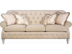 This Elegant Rolled Arm Sofa is a lovely piece to add to literally any home - with over 600 upholstery options and a variety of wood finishes to choose from, there is sure to be a color or pattern to match almost any home!  Its traditional elegance brings a special touch of sophistication to your home.  It features beautiful rolled arms, and intricately carved wooden legs.  The seat back and front panel both feature button tufted designs.  Four decorative accent pillows add a touch of color…