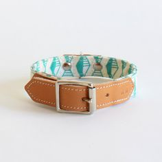 Leather dog collars handmade with modern geometric by HiroandWolf