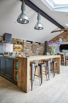 Combine rustic wood with modern textures for the perfect industrial kitchen from The Main Company.