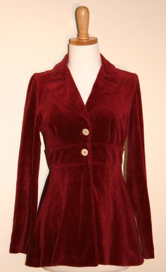 Crimson Velour Peplum Jacket