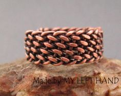 Mens bracelet, masculine wire wrapped copper bracelet. This piece of mens jewelry is completely made by hands, including the clasp. Cool Mens Bracelet, Mens Braclets, Wire Woven Bracelet  Copper wire wrapped mens bracelet. 7 3/4 (21 cm) Length 1/2 Wide  Bracelet can be personalized, as shown on photo # 2, but it is necessary to contact me *before* the purchase, because the price is different, and it depends on the amount of changes requested.