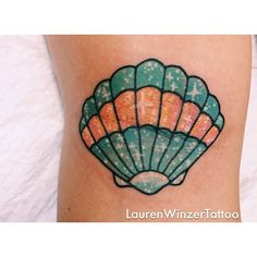 Lauren Winzer | mermaid inspired shell tattoo. I would love for this chick to tattoo something cute and colorful on me