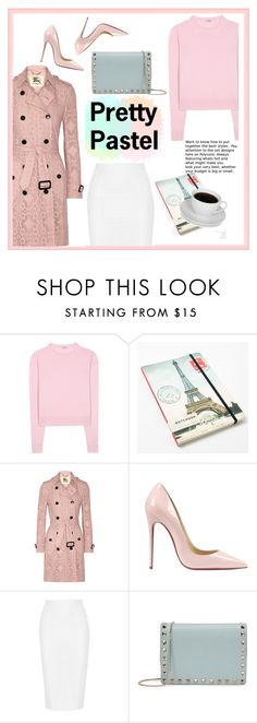 """Pretty pastel"" by andrea-tatis ❤ liked on Polyvore featuring Miu Miu, Cavallini, Burberry, Christian Louboutin, Jonathan Simkhai, Valentino, women's clothing, women's fashion, women and female"