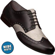 0a19434e17fc Aris Allen Men s Wide Swing Era Black Leather   Ecru Linen Wingtip Dance  Shoe