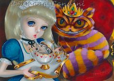 Alice In Wonderland And King Cheshire Cat