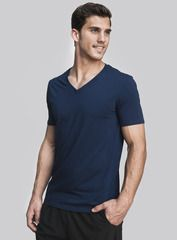 The Every Wear V Neck in indigo. Your workout doesn't end at the gym, so we created a tee using the finest blend of cotton and spandex. It's perfect for a light jog and the V keeps you breathing easy. Shop this and other styles at www.coryvines.com