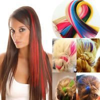 clip In On Colorful Hair piece Synthetic Straight Hair Extensions Highlight
