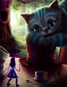 Alice in Wonderland and Cheshire Cat character illustration via www.Facebook.com/HattersParty