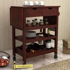 Buy Sonic Kitchen Trolley (Mahogany Finish) Online in India - Wooden Street Buy Kitchen, Wooden Kitchen, Wooden Street, Kitchen Trolley, Online Furniture, Kitchen Furniture, Bookcase, It Is Finished, Shelves