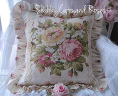 Cottage Roses Florals Pillow Vintage Crochet Trim Cottage Chic | eBay