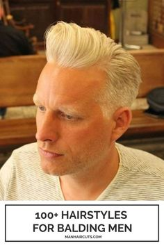 This sharp Pompadour adds height and attitude in just the right amount so that you won't regret losing your hair. Slowly, the bald patches are not so visible, and they don't overcome the power of a cool haircut. #baldingmen #menpompadour #oldermenhairstyle #menhairstyle #manhaircuts Haircuts For Balding Men, Cool Haircuts, Tapered Haircut, Fade Haircut, Short Mohawk, Bald Patches, Pompadour Hairstyle, Hair Pomade, Bald Men