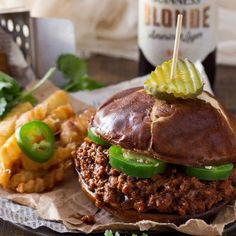 Beef, Chorizo and Beer Sloppy Joes - an adult version of a childhood classic! Try it on french fries!