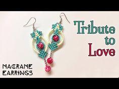 Macrame earrings tutorial: The tribute to love - Simple macrame idea craft - YouTube