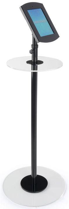 iPad Podium Stand w/ Locking Enclosure, Rotating Bracket & Acrylic Tabletop - Black