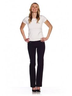 Kick back in these great-fitting Lisette L Boot Cut Pants. Our exclusive Flaterie Fit™ is the feature that is so flattering and so fashionable, slimming your silhouette like no other. These hug your hips and thighs with the classic Boot Cut flare at the bottom. Hand Washable, turn inside out. Remember to select one size smaller for the perfect fit. Made in Canada.  Inseam: 33 Leg Opening: 10 Front Rise: 9 1/2 76% Rayon, 21% Nylon, 3% Spandex