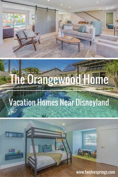 Beautiful and affordable Anaheim vacation homes near Disneyland.   The Orangewood Home by Twelve Springs has 5 bedrooms, 3 bathrooms, a pool, hot tub, game room, and an outdoor bar, grill, and mini fridge.