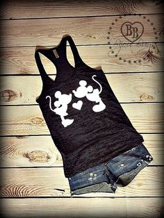 Minnie and Mickey Mouse kiss - Mickey and Minnie Mouse - Disney Design on Racerback, Burnout Tank Top- Sizes S-XL. Other Colors Available by BijouBuys on Etsy https://www.etsy.com/listing/241042584/minnie-and-mickey-mouse-kiss-mickey-and