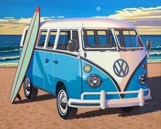 """For Sale on - """"Surfboard Samba"""" photorealistic oil painting of vintage blue Volkswagen bus, Canvas, Oil Paint by Rob Brooks. Offered by Eisenhauer Gallery. Bus Volkswagen, Vw T1, Realistic Oil Painting, Car Painting, Samba, Surfboard, Kombi Hippie, Vans Vintage, Vw Beach"""