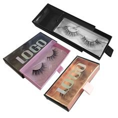 4c4b1160cf9 Private Label Empty Custom Holographic Logo Clear PVC Window False Eyelash  Drawer Packaging box