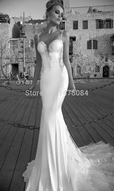 Designer Luxury Romantic Sexy Backless Mermaid Wedding Dress Lace Open Back Bridal Gown 2014 Vestido de noiva sereia