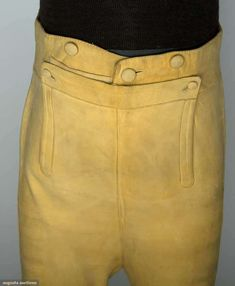 "tan buckskin britches, fall front, below-knee length, back laces, self-covered buttons, W 32"", Inseam 18""; excellent. Provenance Thomas McDonnough first British Consul to USA 1794"