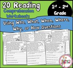 20 Reading Comprehension Worksheets. After reading, students answer comprehension questions. Send home for homework or add to your reading centers,