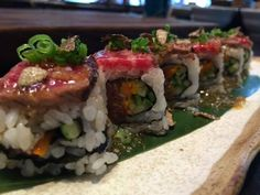 Welcome to the future... a new style of Wagyu Beef Maki Roll at Roka Akor Chicago! Beef tartare in the middle, Robata grilled wagyu on top and truffle, of course! Wow!   View our complete menu at http://rokaakor.com/Chicago/Menu/ - Steak   Seafood   Sushi