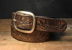 Leather belt  Vintage Aged Leather belt  embossed by reganflegan, $23.00