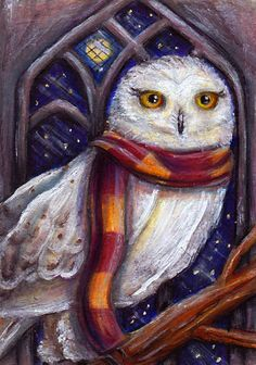 hedwig_in_the_owlery_by_misscosettepontmercy-d4jl3vc