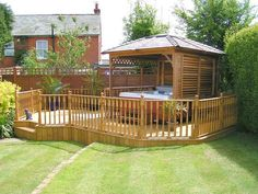 Hot Tub Gazebos http://gazebokings.com/building-your-own-garden-hot-tub-gazebo/