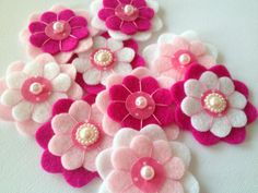 Handmade Felt Flower, 9 pcs, embellishments, Felt Applique