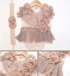 Newborn to Sitter 24M  Neutral Couture Romper Made to