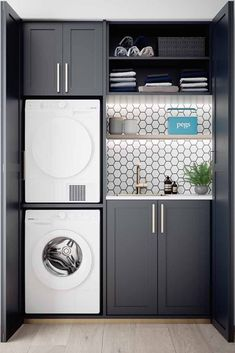 37 Beautiful Small Laundry Room Makeover Ideas - Its one of the most used rooms in the house but it never gets a makeover. What room is it? The laundry room. Almost every home has a laundry room and . Laundry Room Wall Decor, Laundry Room Layouts, Laundry Room Remodel, Laundry Closet, Laundry Room Organization, Laundry In Bathroom, Organization Ideas, Storage Ideas, Laundry Storage