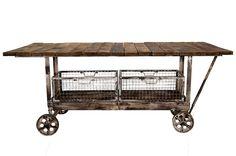 Mesa con ruedas o carro auxiliar para hostelería y comercios modelo Bolivia.