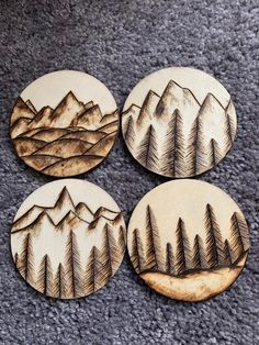 Wood Burned Coasters pack) Handmade Wood Burned Coasters circle Can be made into custom designs Also can have front and back designs Wood Slice Crafts, Wood Burning Crafts, Wood Burning Patterns, Wood Burning Art, Wood Crafts, Wood Burning Projects, Diy Crafts, Wood Burn Designs, Wood Design