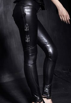 Cyberpunk Style, Futuristic Fashion, Girl in Black, Shiny Stretch Leggings, Polyurethane, Black Leggings
