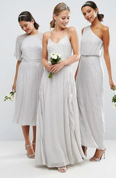 Sparkly silver bridesmaid dresses in different lengths and styles  Embellished Bridesmaid Dress ea2b3fb8a5d2