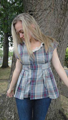 IPlaid upcycled women's shirt