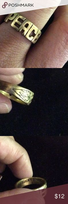 PEACE gold tone lucky brand ring Lucky brand gold tone peace ring size 7 Lucky Brand Jewelry Rings