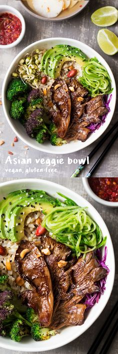 This #asian inspired #veggie #bowl makes a delicious #healthy and filling #lunch or #simple weekday #dinner . Grilled #oystermushrooms provide a meaty texture that beautifully contrasts with fresh veggies and #brownrice .  #recipe #recipes #vegetarian #entree #buddhabowl #vegan #glutenfree